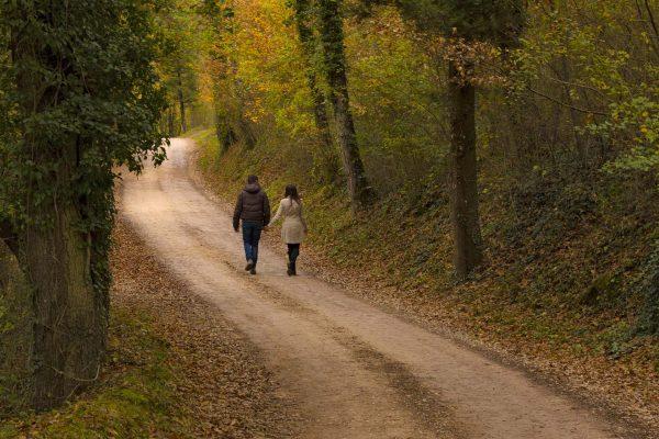Passeggiata romantica in autunno